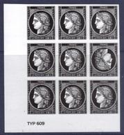 5305 Cérès 0.88 - Bloc De 9 Timbre Avec Tête Bêche Du Bloc - 170 Ans Du Premier Timbre Poste Français (2019) Neuf** - Sheetlets