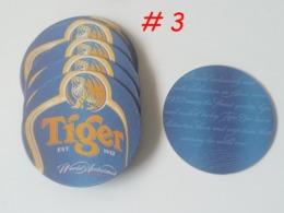Set Of 10 Pcs. Tiger Beer Round Shape World Acclaimed Beer Mat Coaster (#3) - Beer Mats