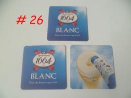 Brand New ! Set Of 3 Pcs. KRONENBOURG 1664 BLANC CANADA Coaster Beer Mat (#26) - Portavasos