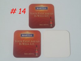"Vintage !  Set Of 3 Of Martell Cognac ""Your Path Ahead Is Well Lit "" Coaster Beer Mat (#14) - Portavasos"
