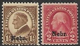 US  1929   Sc#670-1 NEBR Overprints MH  2016 Scott Value $6 - United States
