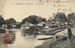 CAMBODGE PHNOM PENH Village Lacustre  + Beau Timbre 15 Surchargé 05 RV - Kambodscha