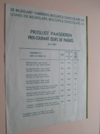"""De BEUKELAER""""s Fabrieken, BISCUITS & CHOCOLADE, N.V. > PRIJSLIJST PAASEIEREN 5-1-1951 ( Zie/Voir Foto ) ! - Belgio"""