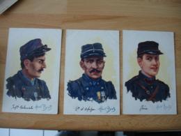 Lot 3 Carte Albert Beerts Guerre 14.18 Portrait Genie Infanteie Coloniale Bataillon Afrique - Beerts, Albert