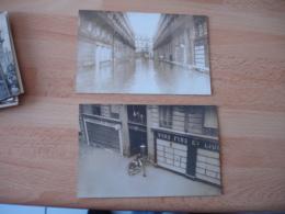 Lot De 2 Carte Photo Inondation Inondations - Paris Flood, 1910