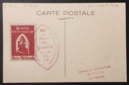 E015 Provins Cité Médiévale 1ère Foire Médiévale 25/6/1949 Vignette Cité Moyen-Âge Carte Maximum T 810 - Cartas