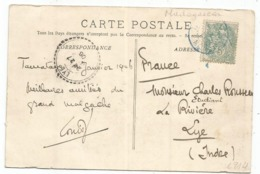 BLANC 5C CACHET BLEU TAMATAVE ( Faible) 1906 MADAGASCAR CARTE MAGASINS GENERAUX PHARE POINTE D'HASTIE RARE - 1900-29 Blanc
