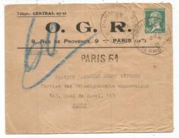 PASTEUR 30C SEUL PNEUMATIQUE PARIS 1927 TARIF SPECIAL  INONDATIONS RARE - 1922-26 Pasteur