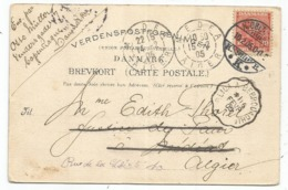 CARTE DANMARK COPENHAGUE 1905 POUR ALGERIE MEDEA REEXP A ALGER  CONVOYEUR BLIDA A BERROUGHIA - Railway Post