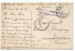CARTE FINHAUT VALAIS 1916 GRIFFE VIOLETTE INTERNEMENT DES PRISONNIERS SUISSE - Storia Postale
