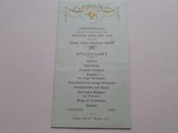 FEESTMAAL > 1ste HEILIGE MIS V/d E.H. GUSTAAF BOES Te ALKEN 27 Maart 1913 > Spijskaart ( Format 16 X 9 Cm.) ! - Menus