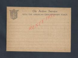 MILITARIA CARTE LETTRE EN FRANCHISE MILITAIRE VIERGE ON ACTIVE SERVICE WITH THE AMERICAIN : - Guerre De 1914-18