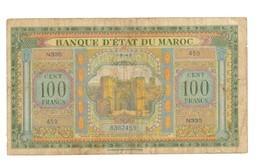 Maroc. Protectorat. Billet De 100 Francs Du 1-8-1943. 2ème émission. - Marokko