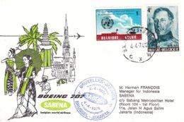 Belgique - Lettre De 1974 - Oblit Bruxelles - 1er Vol Sabena Bruxelles Jakarta - Météorologie - Roi Albert 1er - Belgium