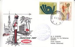 Belgique - Lettre De 1974 - Oblit Bruxelles - 1er Vol Sabena Bruxelles Nassau - Europa - - Belgium