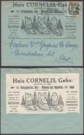 """BELGIQUE COB 768 SUR LETTRE PUB TOMBE + VIGNETTE """" CORNELIS MONUMENTS FUNERAIRES""""(VGVP39) DC-4600 - 1948 Export"""