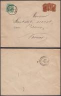 """BELGIQUE COB 30 SUR LETTRE DE HUY + VIGNETTE """"GRAND HOTEL """"(VGVP39) DC-4610 - 1869-1883 Leopold II"""