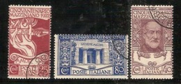 """(Fb).Regno.V.E.III.1922.""""Morte Mazzini"""".Serie Completa Di 3 Val Usati (433-16) - 1900-44 Victor Emmanuel III."""