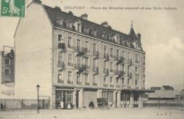 CARTE POSTALE ORIGINALE ANCIENNE : BELFORT LA PLACE DU MARCHE COUVERT RUE METZ JUTEAU  ANIMEE BELFORT (90) - Belfort - Ville