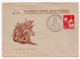 1951 YUGOSLAVIA, MACEDONIA, SPECIAL COVER, SPECIAL CANCELATION, MACEDONIAN UPRISING, 10 YEARS OF YUGOSLAV ARMY STAMP - 1945-1992 Socialist Federal Republic Of Yugoslavia