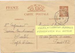 CONVOYEUR USSEL A CLERMONT-FERRAND  TàD 6-5-41 POTHION 1651 T III RETOUR Sur ENTIER  CP IRIS INTERZONE - Poststempel (Briefe)