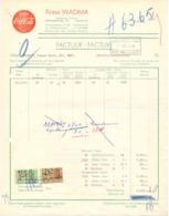 Factuur Facture - Coca Cola - Firma Wadima - Lebbeke 1956 - Food