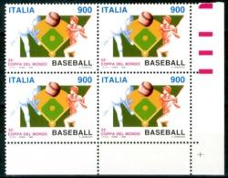 ITALIA / ITALY 1998** - Coppa Del Mondo Di Baseball - Quartina MNH, Come Da Scansione. - Baseball