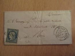 Timbre Cérès 25c YT N°60A Sur Lettre - GC 30 Ailly Sur Noye Vers Paris - 1871 - Cachet OR Origine Rurale - 1871-1875 Ceres