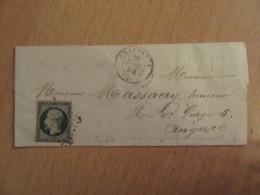 Timbre Napoléon III 25c Bleu YT N°10 Sur Lettre - PC 703 (Chalonnes) - 1854 - Cote Importante - 1852 Louis-Napoleon