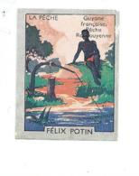 Chromo Guyane Pêche Roucouyenne Colonies Françaises  Pub: Felix Potin Ma Collection 1930s TB 52 X 40 Mm RARE 2 Scans - Félix Potin