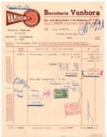 Factuur Facture - Biscuiterie Vanhora - Jos Van Hoorebeke & Ch. Ramont - Eeklo 1952 - Alimentaire