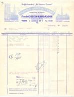 Factuur Facture - Koffiebranderij De Veurnse Torens - Koloniale Waren Firma Mouton - Vandamme - Veurne 1954 - Alimentaire