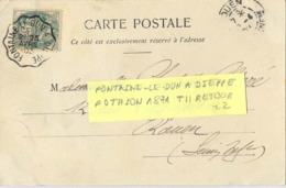 CONVOYEUR  FONTAINE-LE-DUN  A DIEPPE  TàD 25 AVRIL 03 POTHION 1871 T II RETOUR - Posta Ferroviaria