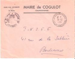 Lot Et Garonne :- SOUMENSAC Dateur Type B9 Sur Enveloppe En Franchise De La Mairie De COGULOT - Storia Postale