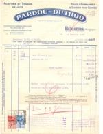 Factuur Facture - Filature & Tissage De Jute - Pardou - Duthoo - Roulers Roeselare 1937 - Alimentaire