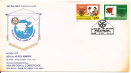 India FDC 14-10-1987 Complete Set Of 2 Rotary Asia Regiolnal Conference New Delhi With Cachet - FDC