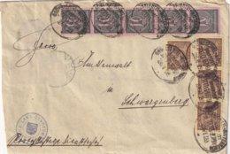 ALLEMAGNE 1923 LETTRE  AVEC TIMBRES DE SERVICE ET CACHET FERROVIAIRE/ZUGSTEMPEL 378 - Officials