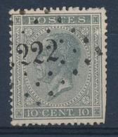 """BELGIE - OBP Nr 17A V5 (LUPPI) - Gest./obl. P222  """"LOKEREN"""" (tanding!/dentelure!) - (ref. ST 1230) - 1865-1866 Profile Left"""