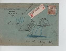 CBPN91/ TP 113 Pellens S/L.recommandée C.Idegem 9/3/1914 > Curreghem (BXL) Griffes Non Réclamé&Retour à L'Envoyeur - 1912 Pellens