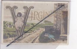 Prénom : Virginie / Petite Fille,balançoire,paysage Champêtre - Firstnames