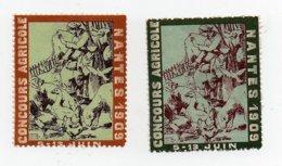 Erinnophilie Vignette Concours Agricole Nantes 1909 Les 2 Vignettes - Erinofilia