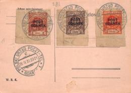 POLOGNE - POLSKI  Urzad Poczt - 1933 - Carte With 3 Stamps  PORT GDANSK - 1919-1939 República