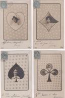 4 CPA , Jeux , Série De Cartes à Jouer As De Trèfle , Carreau , Coeur , Pique - Cartes à Jouer