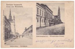 # 10716 Serbia, Versecz Older Greetings Postcard Mailed 1910: School Street, Fehhértemplom Street, Animated - Serbien