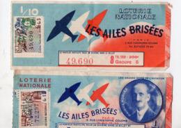 (aviation) (loterie Nationale) Lot De 2 Billets 1/10e AILES BRISEES  1957-58 Dont MAURICE NOGUES  (PPP21084) - Loterijbiljetten