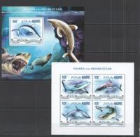 ML664 2014 MALDIVES MARINE LIFE SHARKS OF THE INDIAN OCEAN KB+BL MNH - Meereswelt