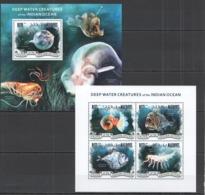 ML665 2014 MALDIVES FAUNA MARINE LIFE DEEP-WATER CREATURES INDIAN OCEAN KB+BL MNH - Meereswelt
