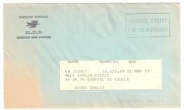 COURRIER D'ESSAI Chéques Postaux NE PAS DISTRIBUER Date 21 03 1973 Env CH 66 EL Non Ouverte - Marcofilie (Brieven)