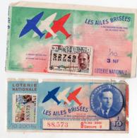 (aviation) (loterie Nationale) Lot De 2 Billets 1/10e AILES BRISEES  1958-61 Dont JEAN MERMOZ (PPP21085) - Billets De Loterie