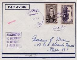 GRAND LIBAN : Divers Sur Lettre Inauguration De L'Aéroport De Beyrouth 6 Juin 1939 . Cachet De L'aéroport - Gran Líbano (1924-1945)